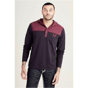 True Religion Men's Henley Hoodie Sweatshirt